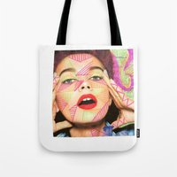 neon Tote Bags featuring Neon  by Kate Allison