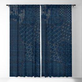 Sashiko - random sampler Blackout Curtain