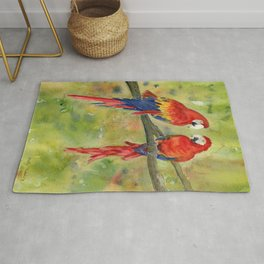 Scarlet Macaw Parrots Rug