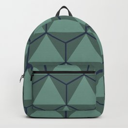 Blue and Green, Triangle and Hexagon Pattern Backpack