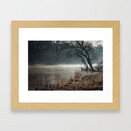 Morning fog, river and sunrise Framed Art Print