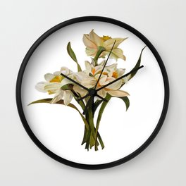 Double Narcissi In A Bouquet Isolated Wall Clock