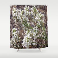free shipping Shower Curtains featuring Little white Flowers - FREE SHIPPING THRU SUNDAY by LoRo  Art & Pictures