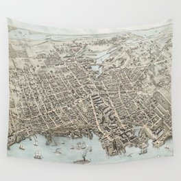 Vintage Map of Fall River Massachusetts (1877) Wall Tapestry