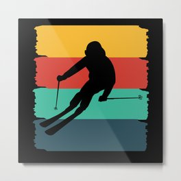 Skier - Retro Ski Design Vintage Metal Print