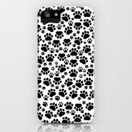 Dog Paws, Traces, Paw-prints - White Black iPhone Case