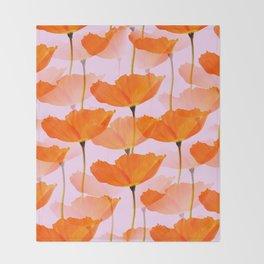 Orange Poppies On A Pink Background #decor #society6 #buyart Throw Blanket