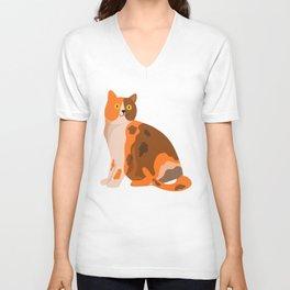 Cute Happy Orange Tricolour Cat Pet Art For Animal Lovers Unisex V-Neck