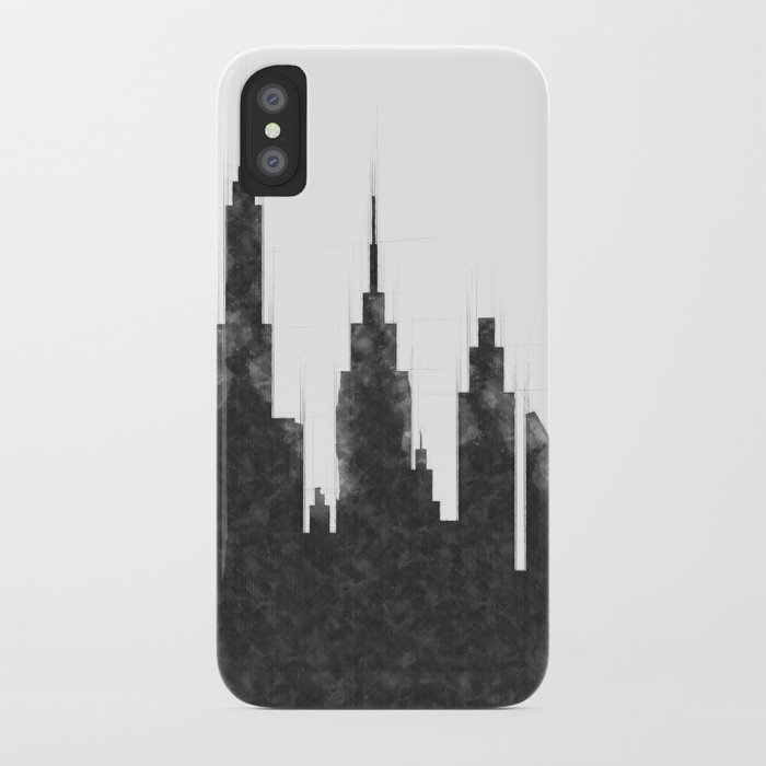 Modern City Buildings And Skyscrapers Sketch, New York Skyline, Wall Art  Poster Decor, New York City iPhone Case by radub85