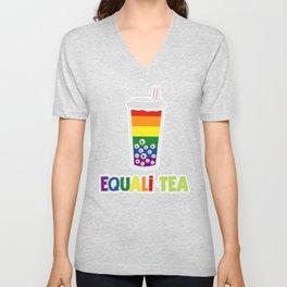 Equali-Tea Boba Bubble Tea LGBT Rainbow Pride Unisex V-Neck