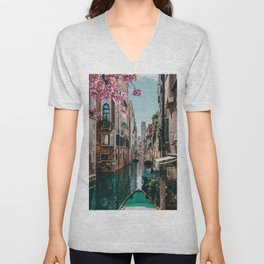 Spring Venice emerald canal with old building  Unisex V-Neck