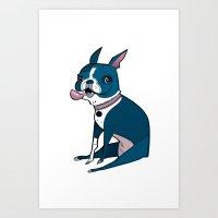 boston terrier Art Prints featuring Boston Terrier by breakfastjones
