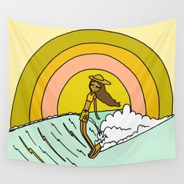 spread sunshine lady slide rainbow surf Wall Tapestry