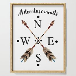 Cardinal directions Compass Arrows Adventure awaits Typography Serving Tray