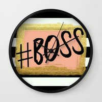 boss Wall Clocks featuring #boss by Pink Berry Patterns