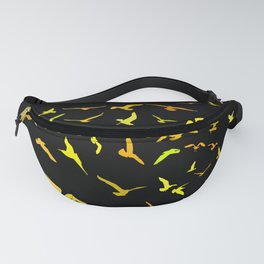 Seagulls gold silhouette on black background Fanny Pack