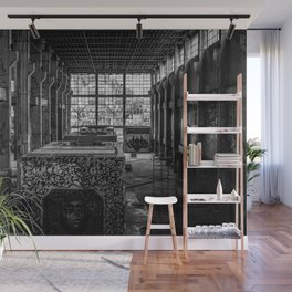 Black and White Abandoned Building Photography Print Grunge Poster Wall Mural