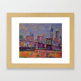 New York City Lights - palette knife painting abstract manhattan skyline Brooklyn bridge Framed Art Print
