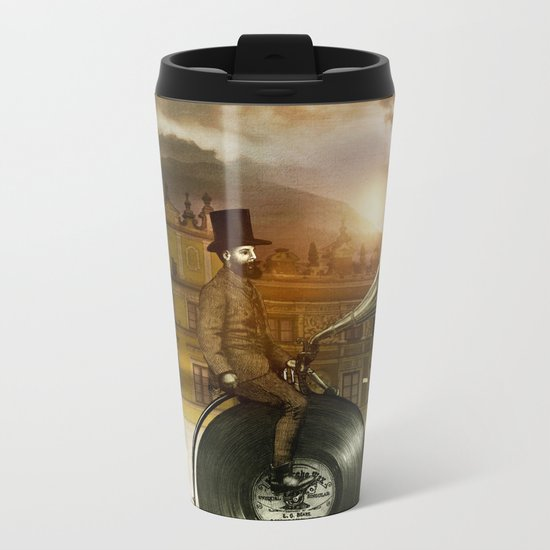 Music Man in the City, by Eric Fan and Viviana González Metal Travel Mug