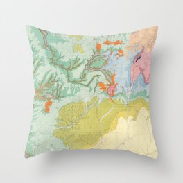 Southwest Map - Pastel Throw Pillow