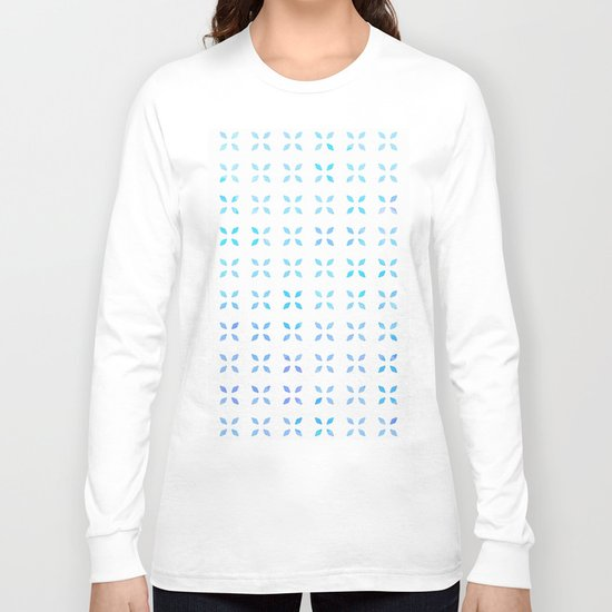 Blue diamond pattern Long Sleeve T-shirt