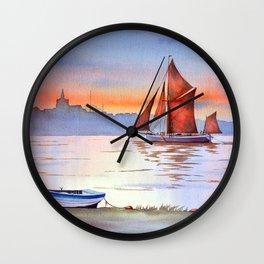 Thames Barge At Maldon England Wall Clock