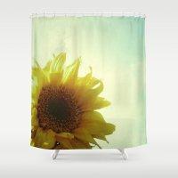 sunflower Shower Curtains featuring Sunflower by Cassia Beck