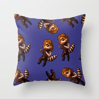 bucky Throw Pillows featuring RACCOON BUCKY by zombietonbo