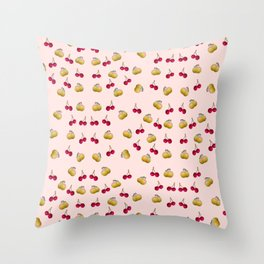 cherries and plums on a pink background Throw Pillow