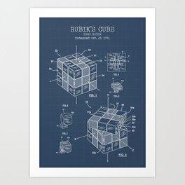 Rubiks cube blueprint Art Print