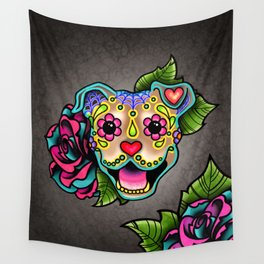 Smiling Pit Bull in Fawn - Day of the Dead Pitbull Sugar Skull Wall Tapestry