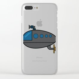 A Cute Illustration Of A Gray Submarine Underwater Sea Ocean Navy Submariner Snorkeling Air Bubbles Clear iPhone Case