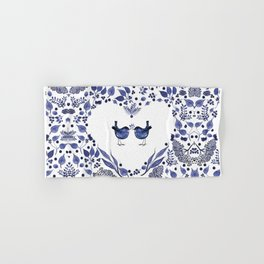 BLUE BIRDS WATERCOLOR - THE GIFT - INDIGO Hand & Bath Towel