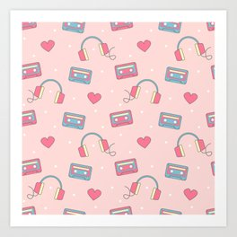 cute colorful pattern with headphones, hearts, dots and cassette tapes Art Print