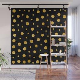 Elegant polka dots - Black Gold Wall Mural