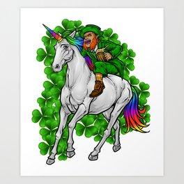 Leprechaun Rides Unicorn | Happy St. Patrick's Day Art Print