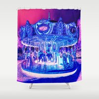 carousel Shower Curtains featuring Carousel Merry-G0-Round Pink Purple by WhimsyRomance&Fun