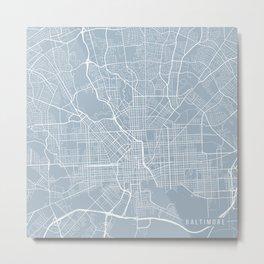Baltimore Map, USA - Slate Metal Print