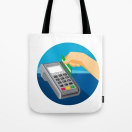 Hand Swiping Credit Card on POS Terminal Retro Tote Bag
