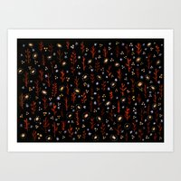 Black & Red Handmade Illustrated Watercolor Pattern Art Print