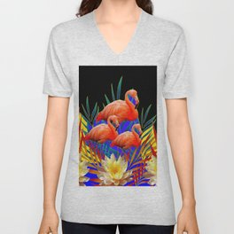 ABSTRACT BLACK-PURPLE FLORIDA FLAMINGO WATER LILIES Unisex V-Neck