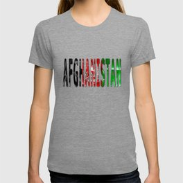 Afghanistan Word With Flag Texture T-shirt