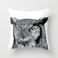 owl Throw Pillows featuring Owl by Puddingshades