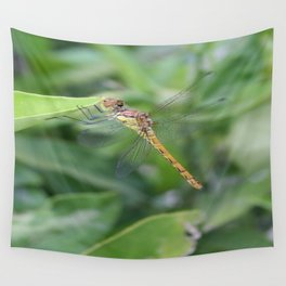 Green and Brown Dragonfly Holding On To Oleander Wall Tapestry