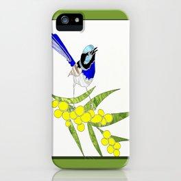 Blue Wren and Golden Wattle iPhone Case