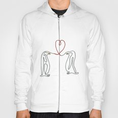 Penguins in love single line drawing Hoody