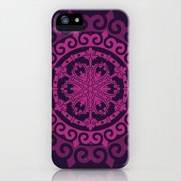 Pink Mandala on Dark Purple iPhone Case