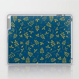 Gold Leaves Design on Teal Laptop & iPad Skin