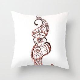 25. Sea Horse Henna Flower Pattern  Throw Pillow