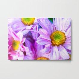 Flower Watercolor Painting Realistic Art Nature Landscape Purple Plants Wall Decor Illustration Metal Print